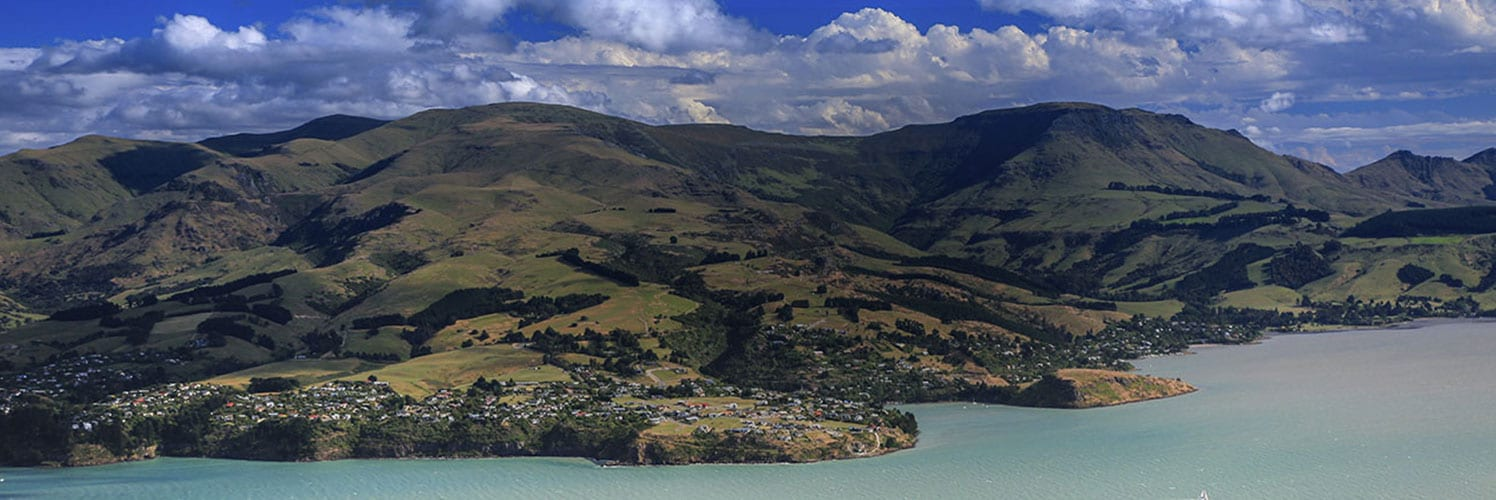 The Port of Lyttelton taken from the hills above. Banks Peninsula, Canterbury, New Zealand.