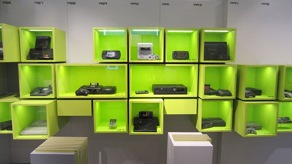 Gaming consoles from '80s and '90s in the Computerspielemuseum (computer gaming museum) in Berlin.