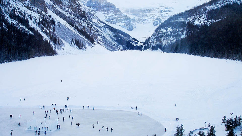 Frozen lake in Banff National Park in Alberta, Canada