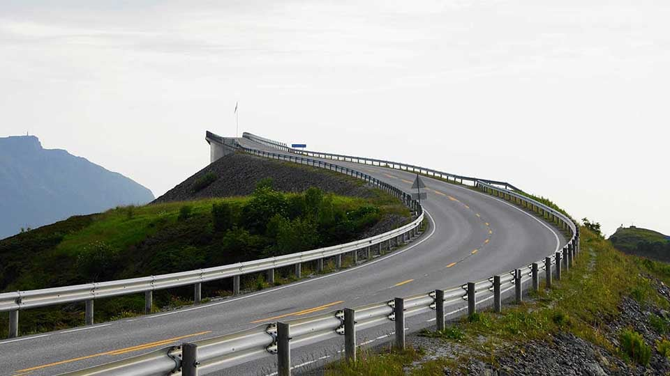 A curve in the Atlanterhavsveien road in Norway