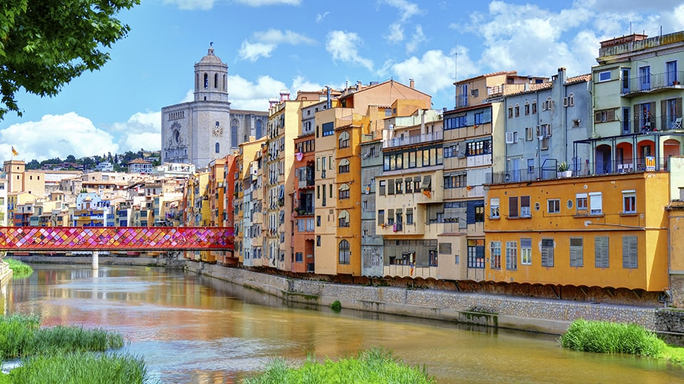 Cathedral and houses in Girona with decorated bridge. Flower Festival 2013
